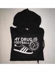 "Sudadera Capucha ""My drug is Football – Zapatilla"" Chico ad0f2a8901ace"